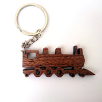 Wooden Steam Train Keychain, Walnut Wood, Railroad Keychain, Old Trains Keychain, Environmental Friendly Green materials