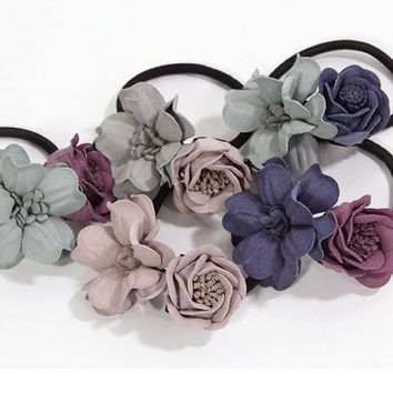 PEAPGC3 1PC New Fashion Women Hair Ropes Beauty Simulation Flowers Elastic Hair Bands Girls Ponytail Holder Hair Accessories Tie Gums