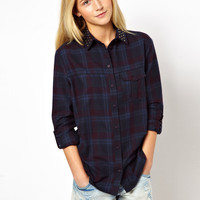 ASOS | ASOS Shirt with Stud Detail in Check Print at ASOS