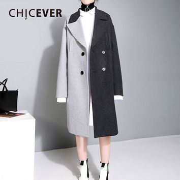 CHICEVER Hit Color Autumn Female Overcoat Long Sleeve Loose Big Size Double Breasted Wool Women Coats Fashion Clothes New 2017