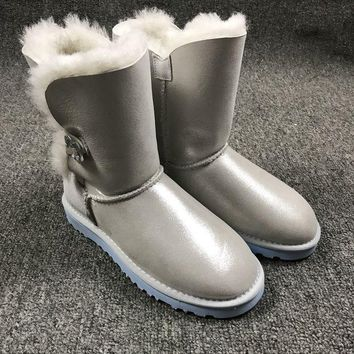 DCCKGV7 Best Online Sale Ugg 1002174 W Irina Clouds Smoke White Classic Bailey Button Bling Boot Snow Boots