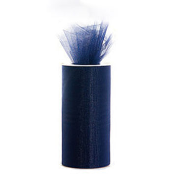 Tulle Spool Roll Fabric Net, 6-inch, 25-yard, Navy Blue