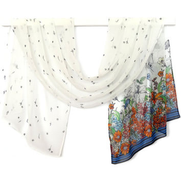 scarf silk chiffon 60 in x 18 in women's fashion accessories,  small flowers on a white background and a floral pattern on one edge.