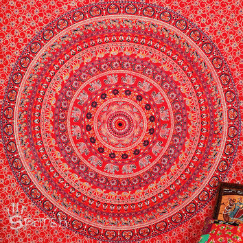 Elephant Mandala Hippie Tapestry, Hippie Wall Hanging, Indian Block Print Bedspread Throw Bedding, Bohemian Wall Tapestry, Ethnic Home Decor