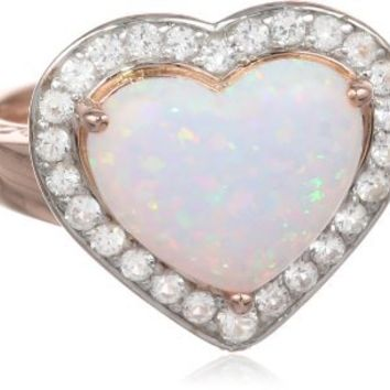 Sterling Silver Heart simulated Opal with Created White Sapphire Pink Plated Ring, Size 7