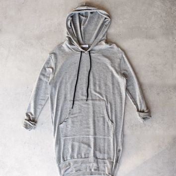 michelle by comune - 'quinlan' heather grey french terry hoodie dress