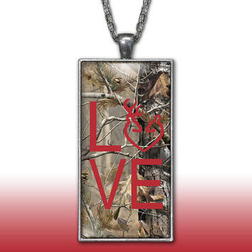 Camo Love Heart Pendant Charm Necklace Deer Head Browning Red Country Girl Custom Necklace Silver Plated Jewelry