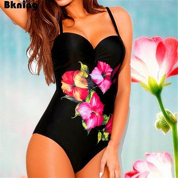 Push Up Swimsuit One Piece Large Size Swimwear Female Swimming Suit for swimsuits Plus Trikini 2019 Badpak Red Floral Print XXL