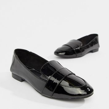 Bershka patent slip on loafers in black at asos.com
