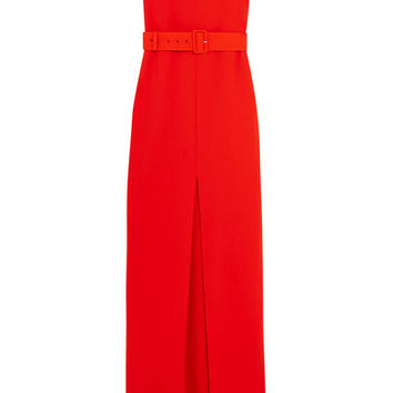 Solace London - Tara belted stretch-crepe gown