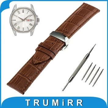 18mm 20mm 22mm Genuine Leather Watch Band for Seiko Stainless Steel Butterfly Buckle Strap Wrist Belt Bracelet Black Brown