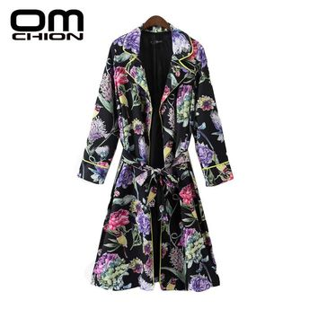 Floral Printed Long Sleeve Trench Coat Slim Notched Collar Belt Autumn Coat