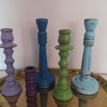 5 Painted Wooden Candlesticks ~ Cottage Chic BOHO taper lot ~ Purple Blue Green Teal ~  Beach Grouping