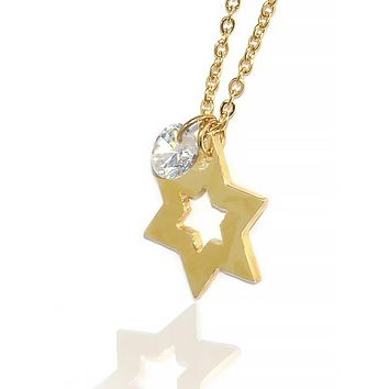 Gold-Tone Stainless Steel Jewish Star Necklace