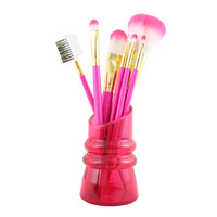 "Cosmopolitan 7Pc Makeup Brush And Holder Set 8.66""""X1.96""""X2.55"""" Hot Pink: Hot Pink"