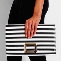 District Black and White Gold Detail Clutch Bag | Pink Boutique
