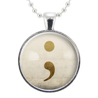Semi Colon Necklace, Suicide Awareness Survivor Pendant, Depression Recovery Jewelry