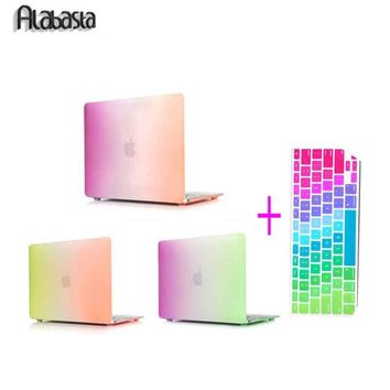 3 Colors Matte Rubberized Rainbow Colorful Alabasta Hard Cases Cover For MacBook  Pro 15 13 Pro 13 15 Retina Air 11 13+ Gift