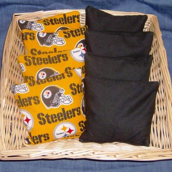 8 PC Set of PITTSBURG STEELERS CORN HOLE GAME BAGS - Handmade Crafts by CORN HOLE BAG LADY