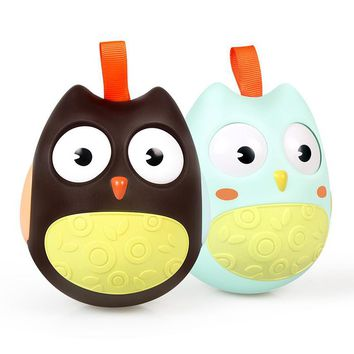 OnnPnnQ Cute Baby Toys Nodding Moving Eyes Owl Doll Baby Rattles Gifts Baby Roly Poly Tumbler Toy With Bell Toys For Children