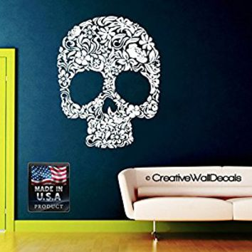Wall Decal Vinyl Sticker Decals Art Decor Design Flowers Skulls Tattoo Face Gift Rock Cool Horor Zombie Bedroom Nursery Dorm (r1051)
