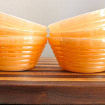 Set of Six Vintage Fire King Peach Lustre Beehive Glass Soup Bowls with Handles