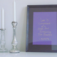 Love is... - gold on purple - DIN A4 - Wall Art Print handmade written - original by misssfaith