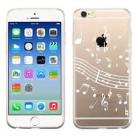 Fit iPhone 6 / 6s, One Tough Shield ® SLIM-FIT Transparent Flexible TPU Phone Case for Apple iPhone 6 / 6s - (White Music Notes)