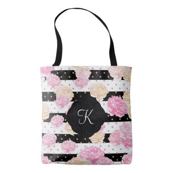 Colorful Peony Monogram Tote Bag