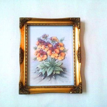 Floral art, gold frame, Baroque photo frame, decoupage art, framed decoupage, gold coloured frame, vintage framed art, pansy picture, flower