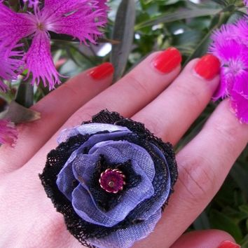 Corabell Cocktail Ring - Black Tattered Lace Handmade Flower with Crystal Center