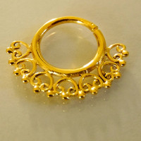 Gold Plated Septum For Pierced Nose - Nose jewelry - Septum Jewelry - Indian Nose Ring - Ethnic Septum - Septum Piercing (Code: G29)