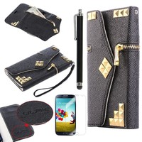 Galaxy S4 Case, ULAK Black Dexule Travel Wristlet Wallet with Punk Studs Nails Case for Samsung Galaxy S4 SIV i9500 (Black with Punk Studs Nails)