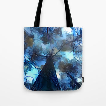 Blue forest, dark sky view, abstract spooky artwork, sad winter trees, dark blue colors nature theme Tote Bag by Casemiro Arts - Peter Reiss