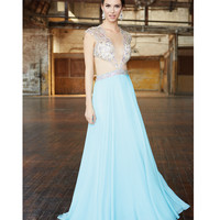 Light Blue Jeweled Cut Out Gown