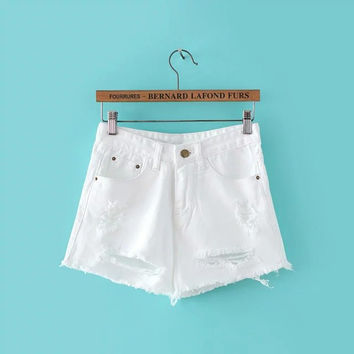 Summer Women's Fashion Korean Stylish Simple Design White Rinsed Denim Ripped Holes Shorts [4919986948]