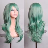 "28 "" Long Big Wavy Hair Heat Resistant Cosplay Wig Hair Extensions Mint Green"