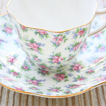 Rosina China Teacup and Saucer Set/Tea Party/Bridal Shower / Gifts/English Tea/English Serving Set/1950s