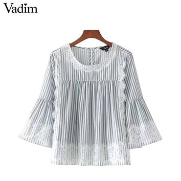 Women sweet lace patchwork loose striped shirt o neck three quarter sleeve blouse ladies street wear tops