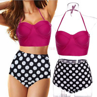 2015 Vintage High Waist Swimsuit Bikini Polk Dot Print Push Up Padded Bikini Set Plus Size Swimwear Women Biquini Retro Bikini Free Shipping