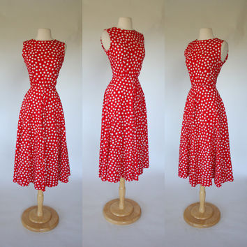 1980's red polka dot dress, sleeveless fit and flare summer sun dress, tea length cotton 50's style size medium US 8 hand made dress