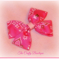 Hot Pink Western Cowgirl Bandana Sparkly Baby Toddler Boutique Bow