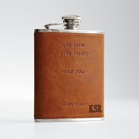personalizable leather wrapped flask