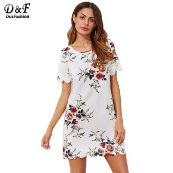 Scallop Trim Botanical Print Tunic Dress Summer Multi Color Short Dress Woman Short Sleeve Tunic Shift Dress