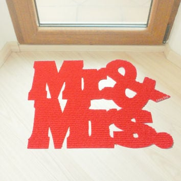 Mr & Mrs. floor mat. Couple, marriage home decor.  The best wedding gift.