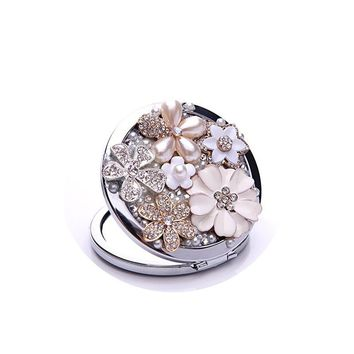 Flower Girl Pearl Cosmetic Mirror Mini Pocket Double Side Compact Makeup Mirror