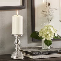 ELECTROPLATED PILLAR CANDLE HOLDER (SMALL)