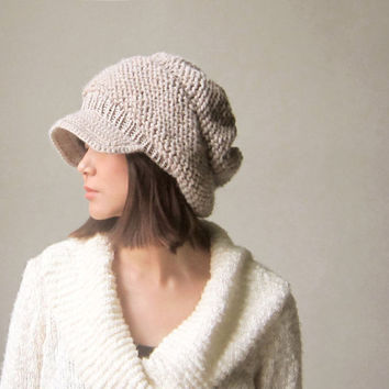 Unique Slouchy Hat / Chunky Beret / Chunkier Tam /Dusty Pinkish Oatmeal