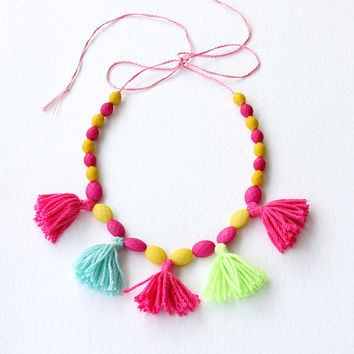 Neon necklace yellow pink necklace boho chic necklace bohemian tassel jewelry boho jewellery mardi grass coachella / SIMZA /