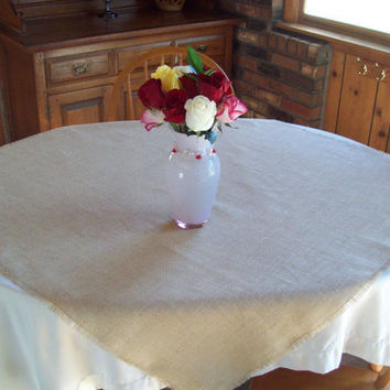 Burlap Table Square 42 x 42 -Table Overlay - Burlap Table Topper - Large Table Square - Natural or Off White
